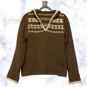 Bogner Fire + Ice Nordic sweater hood knit brown 100% virgin wool pullover small